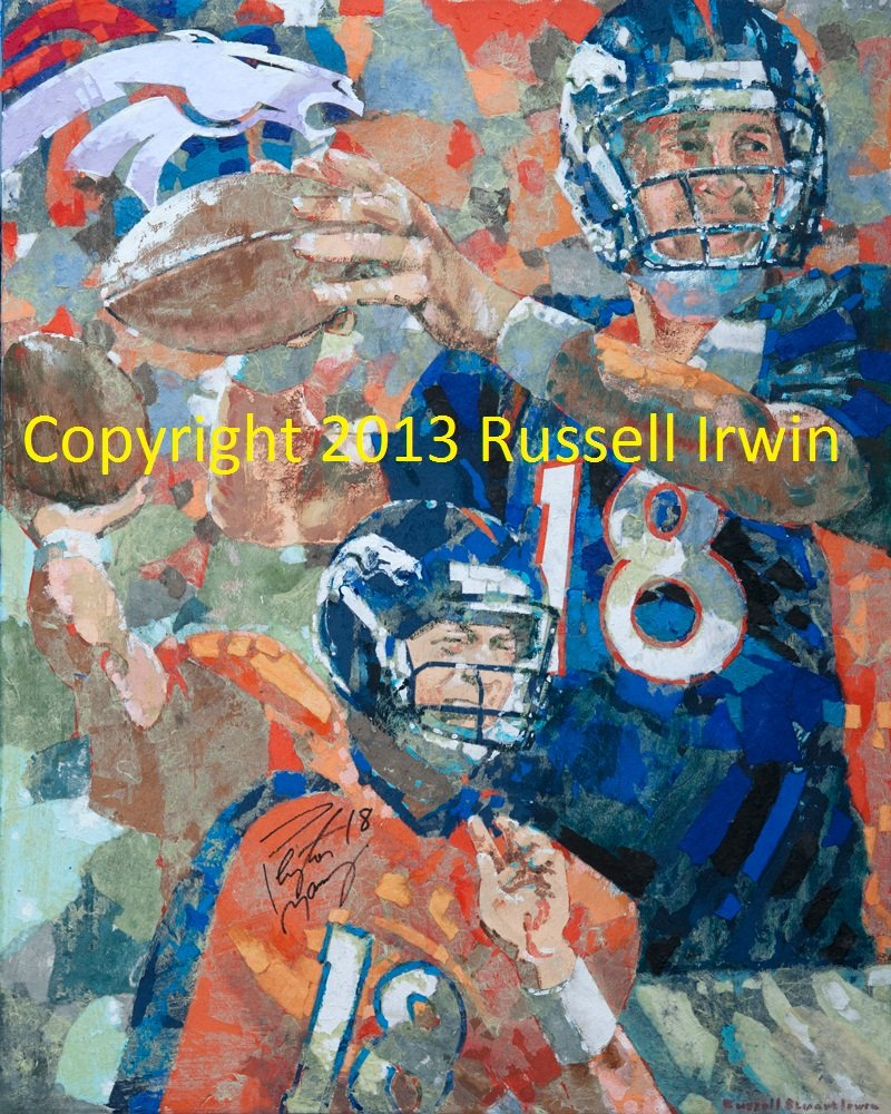 Peyton Manning Autographed Paper Mosaic by Russell Irwin