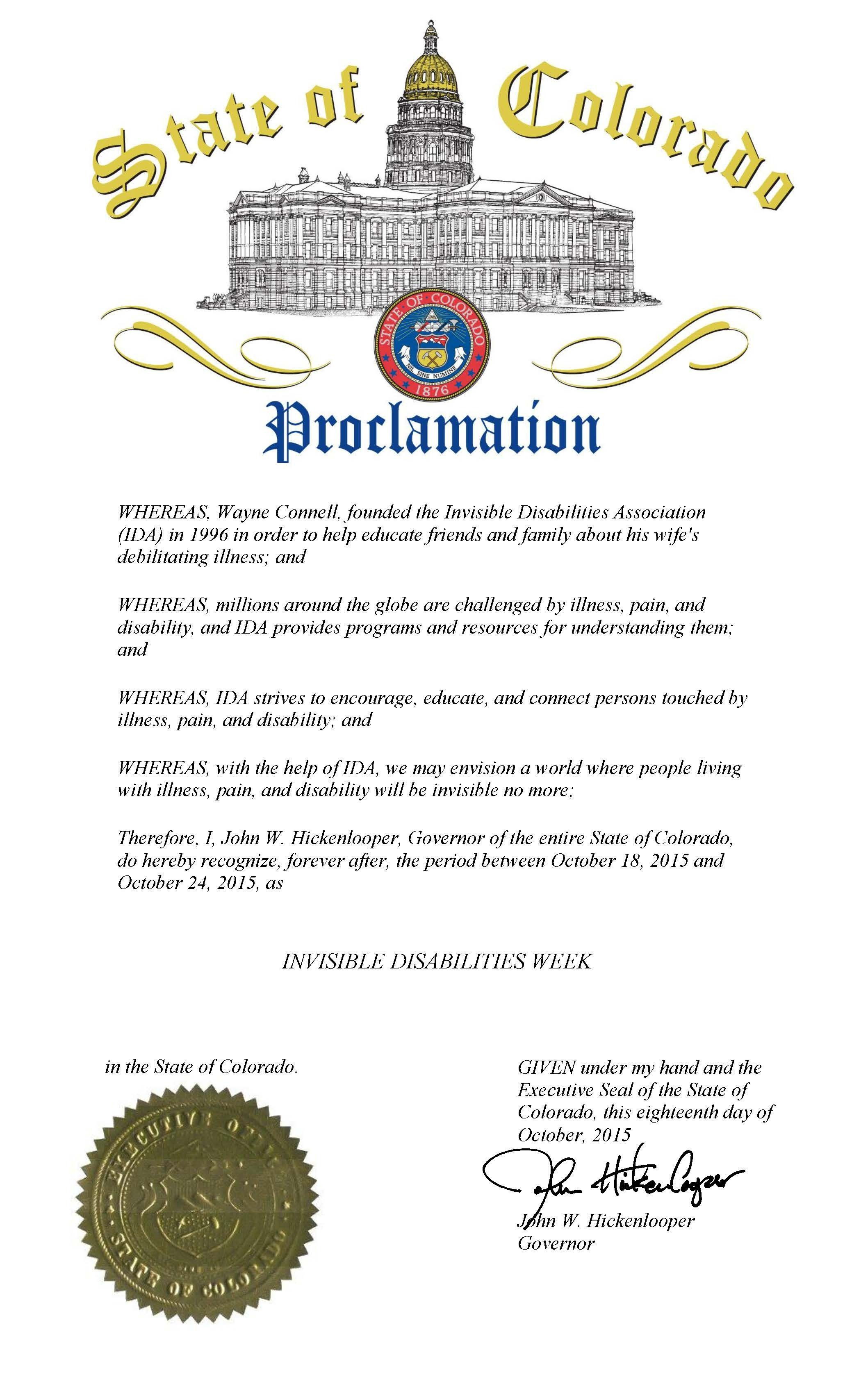 Colorado Governor's Proclamation Invisible Disabilities Week 10-18-15 thru 10-24-15