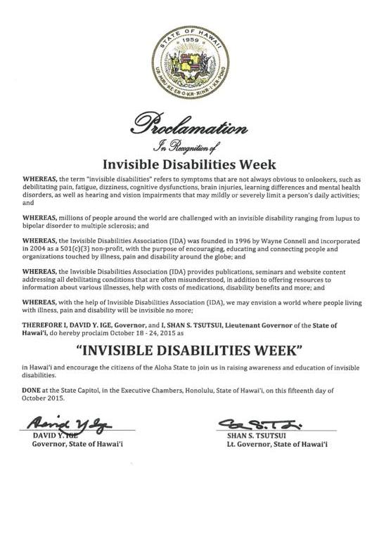 Hawaiian Governors Proclamation Invisible Disabilities Week
