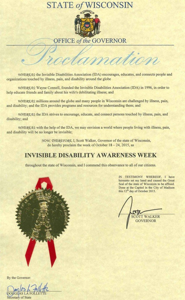 Wisconsins Governors Proclamation Invisible Disability Awareness Week 2015