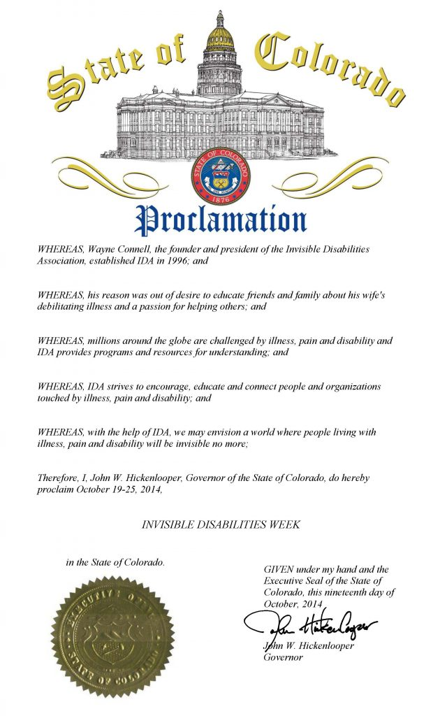Colorado Governor Proclaims Invisible Disabilities Week 10 19 14 thru 10 25 14