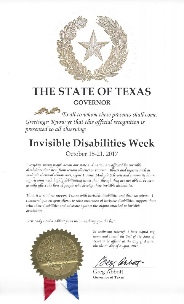 State of Texas Invisible Disabilities Week Proclamation Oct 15 - 21 2017