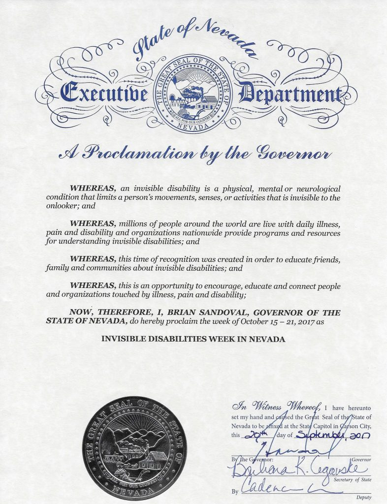 State of Nevada Invisible Disabilities Week Proclamation Oct 15 - 21 2017