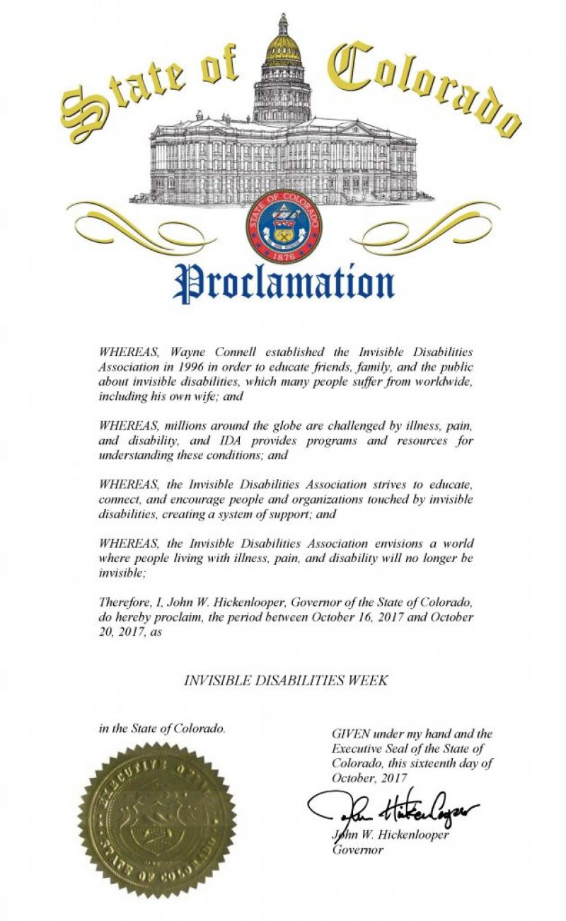 State of Colorado Invisible Disabilities Week Proclamation Oct 15 - 21 2017