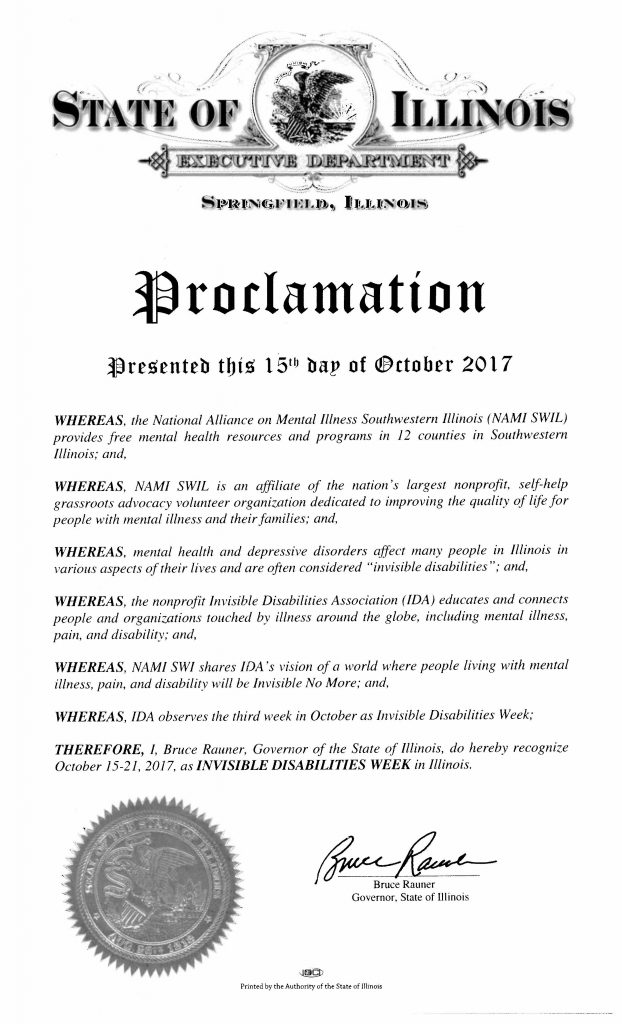 State of Illinois Invisible Disabilities Week Proclamation Oct 15 - 21 2017