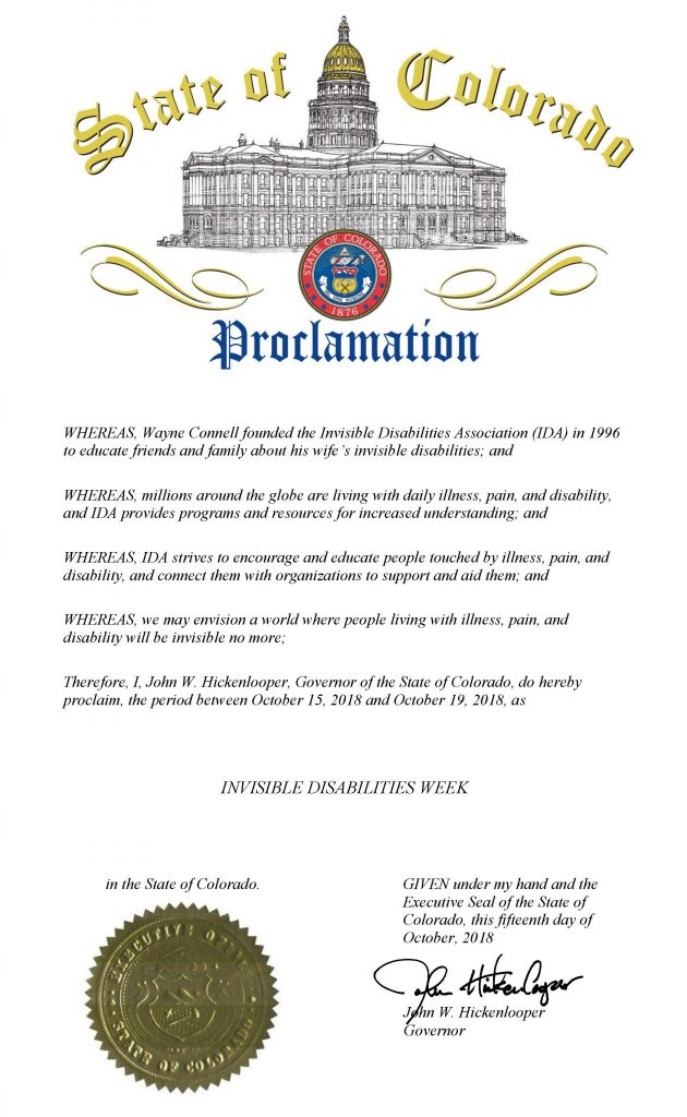 State of Colorado Invisible Disabilities Week 2018 Governors Proclamation
