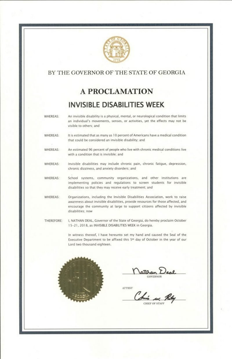 State of Georgia Invisible Disabilities Week 2018 Governors Proclamation