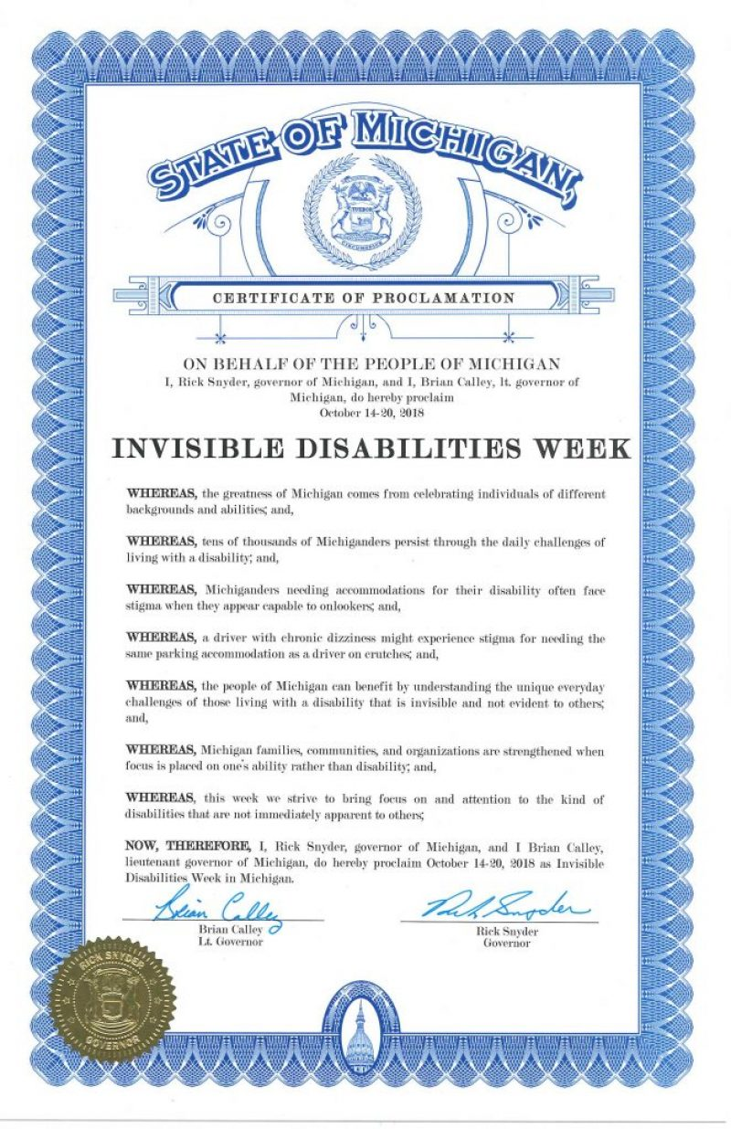 State of Michigan Invisible Disabilities Week 2018 Governors Proclamation
