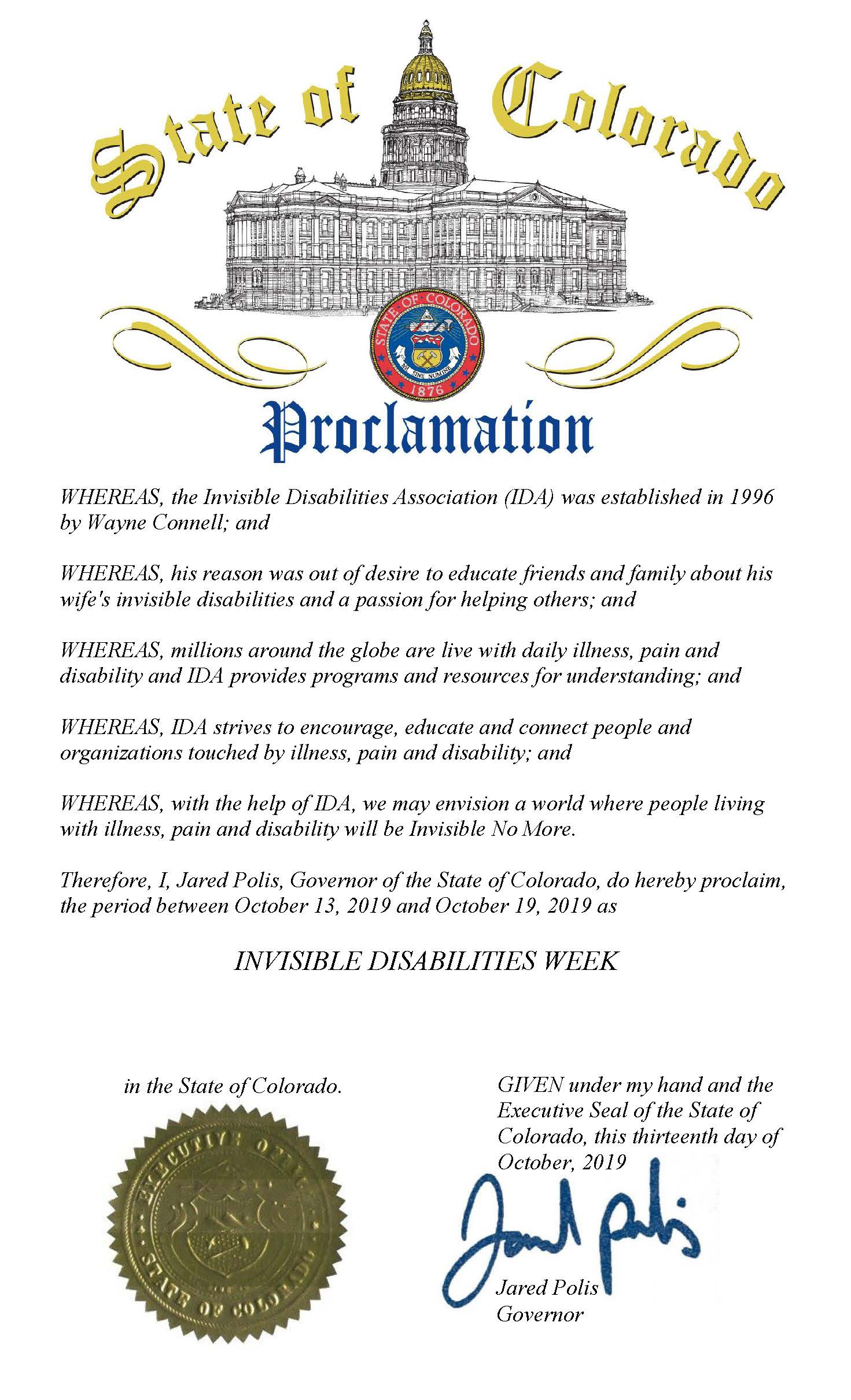 State of Colorado Invisible Disabilities Week Proclamation 2019