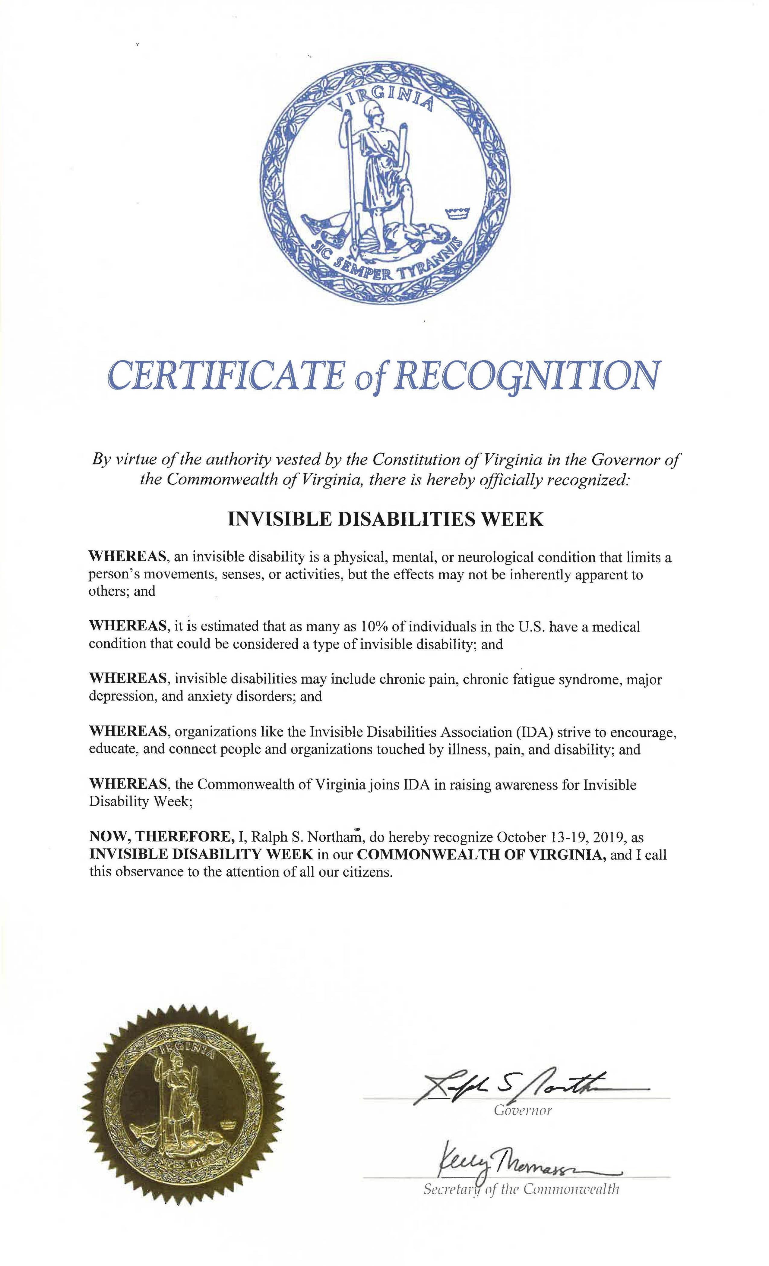 State of Virginia - Invisible Disabilities Week Proclamation 2019