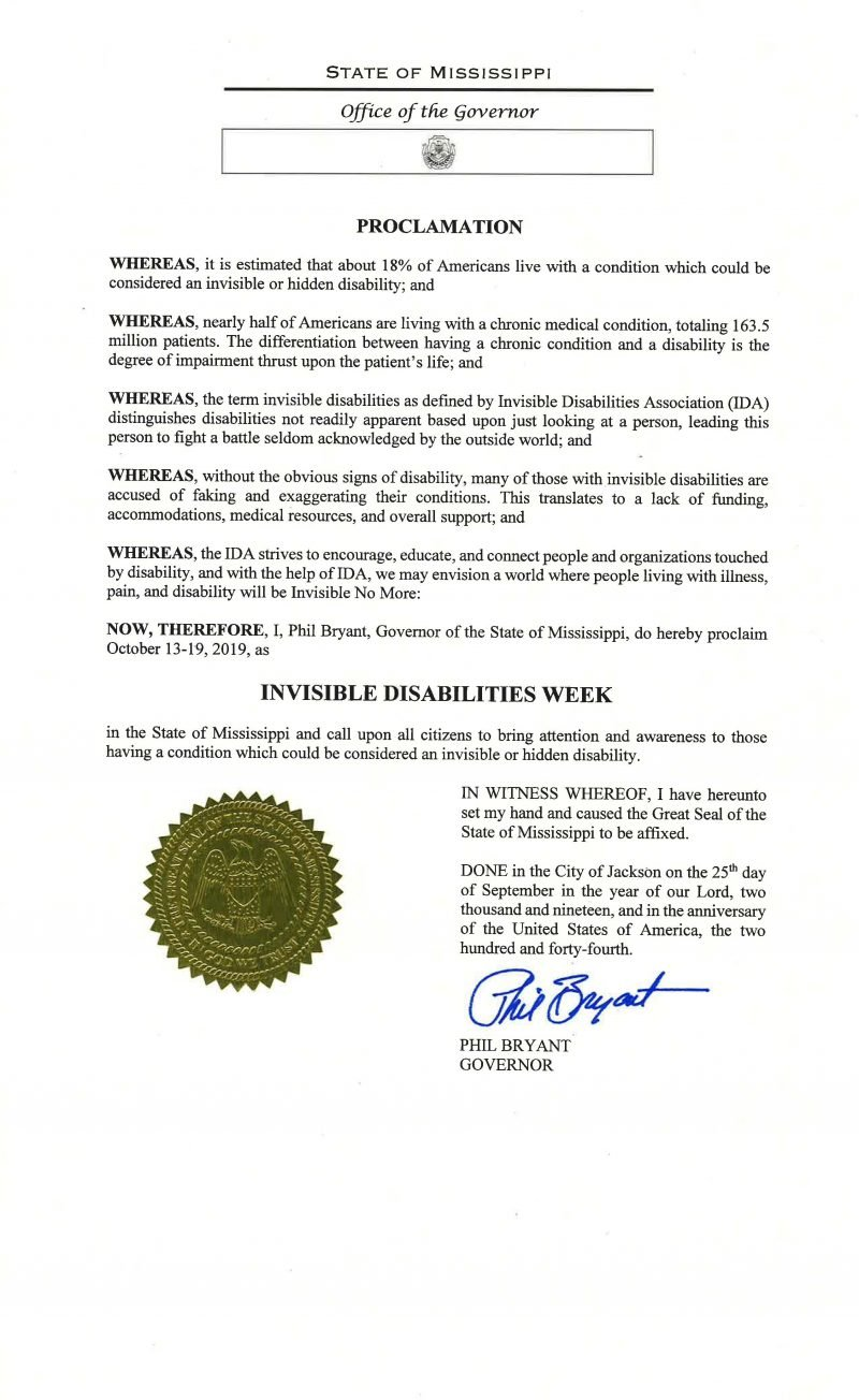 State of Mississippi - Invisible Disabilities Week Proclamation 2019