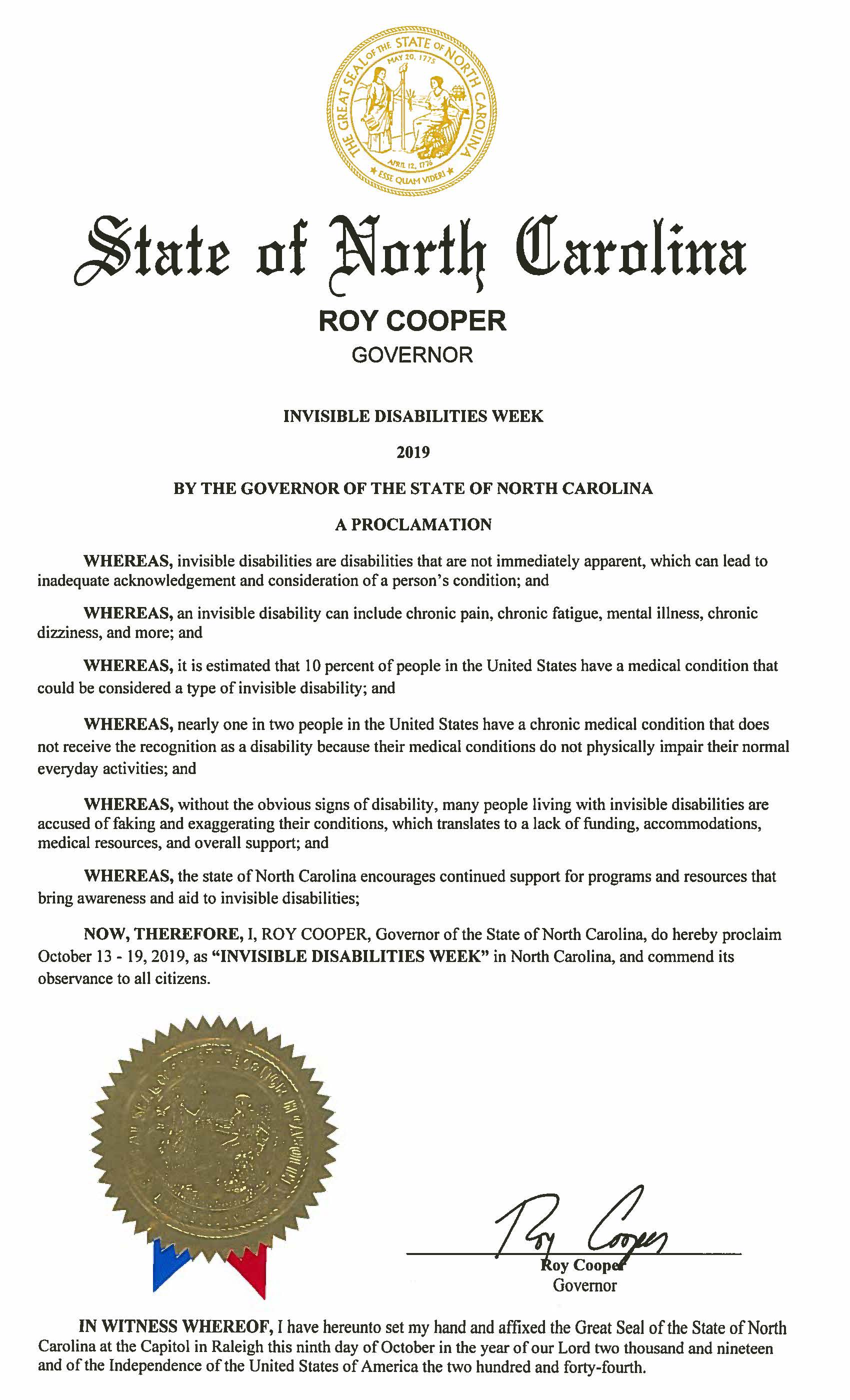 State of North Carolina - Invisible Disabilities Week Proclamation 2019