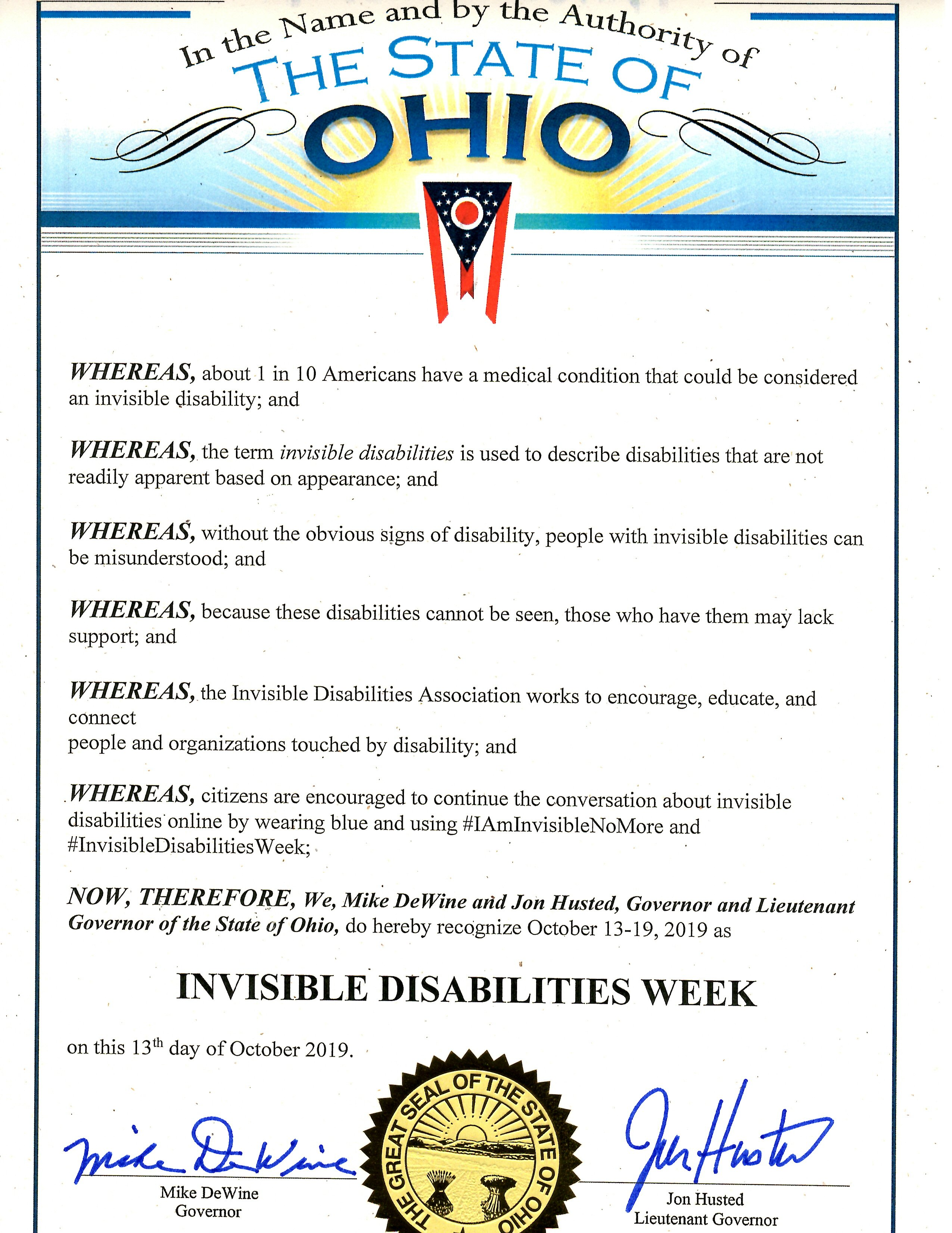State of Ohio - Invisible Disabilities Week Proclamation 2019