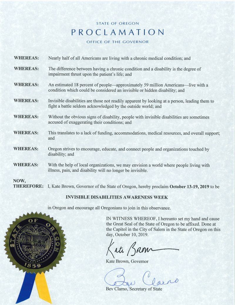 State of Oregon - Invisible Disabilities Week Proclamation 2019