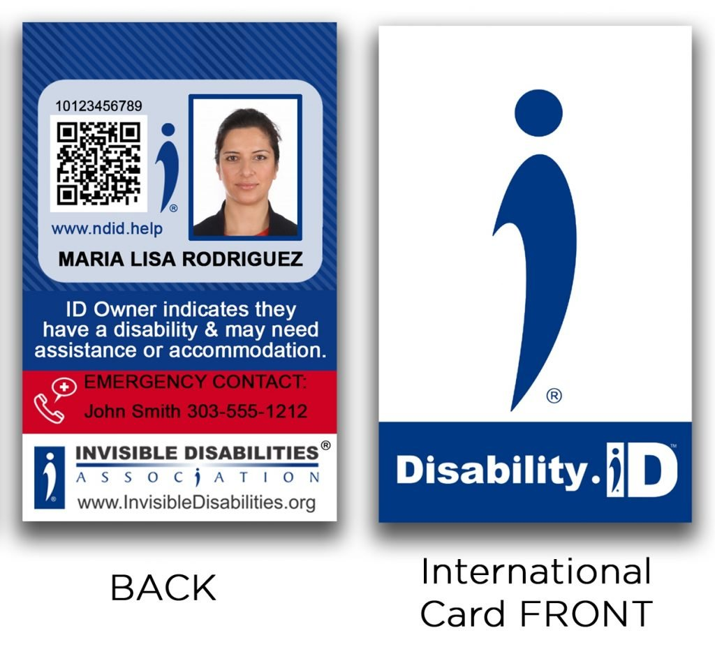 International Disability ID Card Front and Back - Invisible Disabilities Association