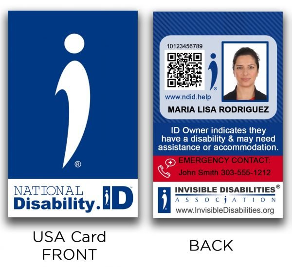 national disability id card front and back  invisible