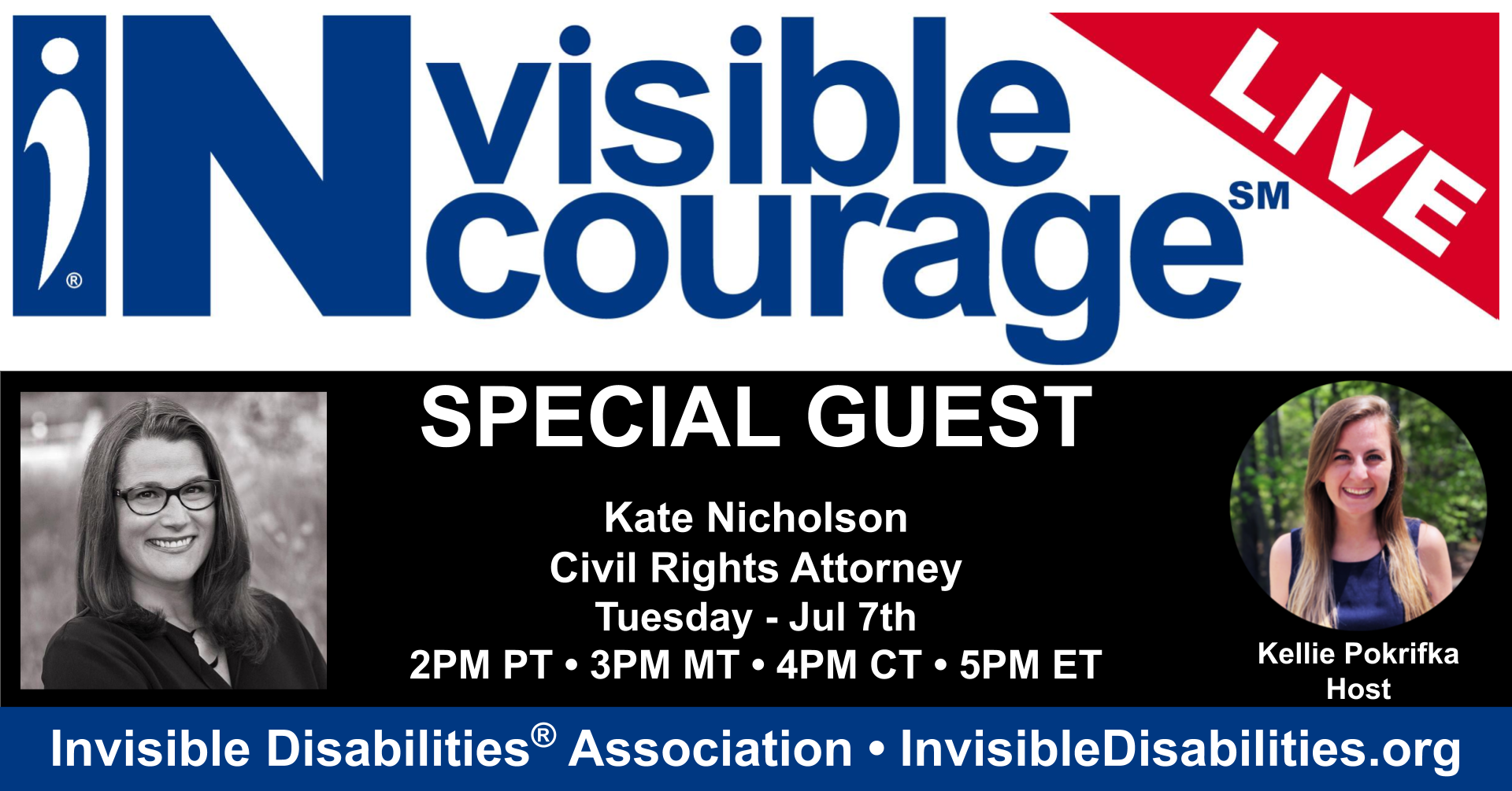 InVisible InCourage Live with Kate Nicholson - Invisible Disabilities Association 07-07-2020