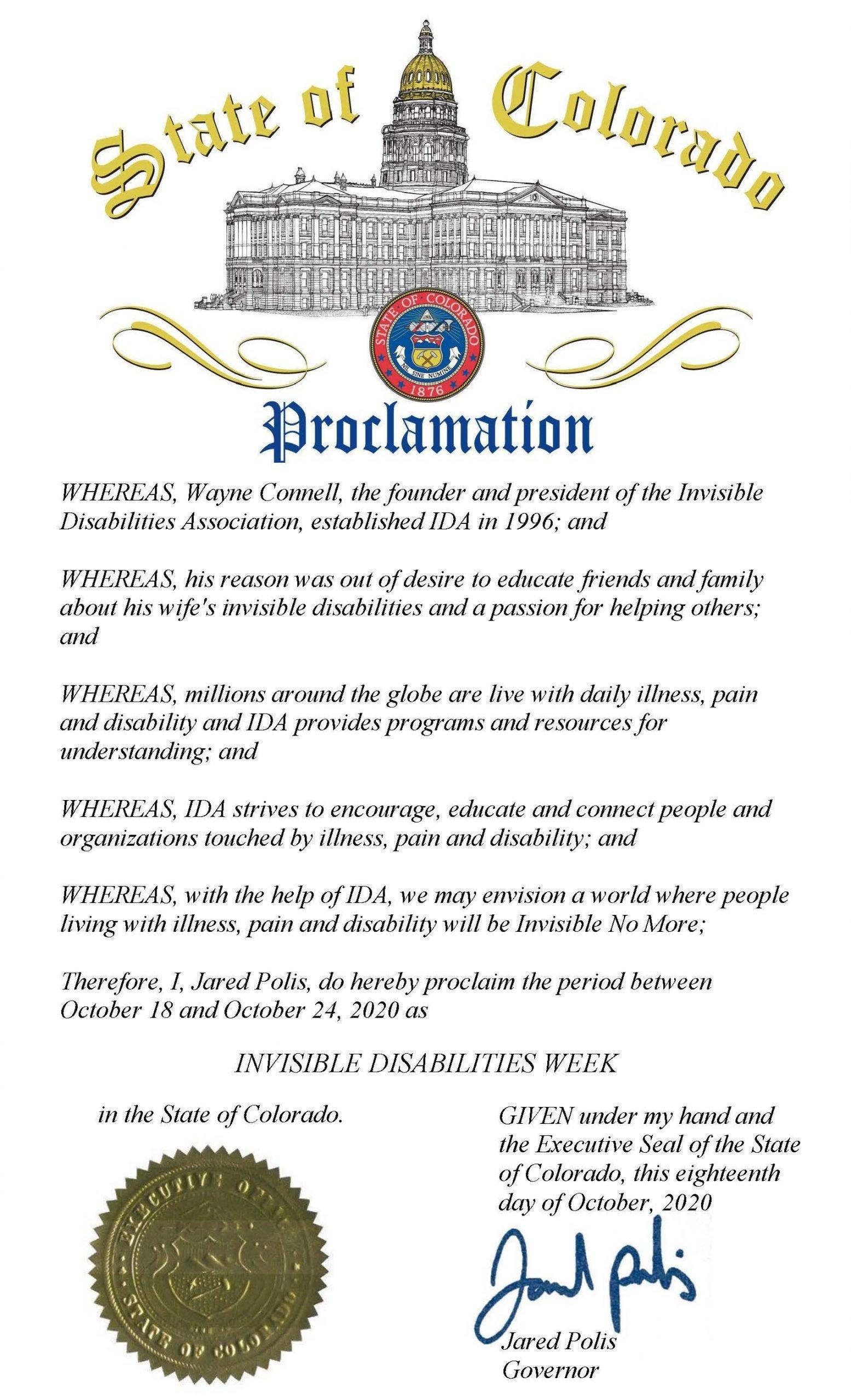 Colorado 2020 Invisible Disabilities Week Proclamation - Invisible Disabilities Association