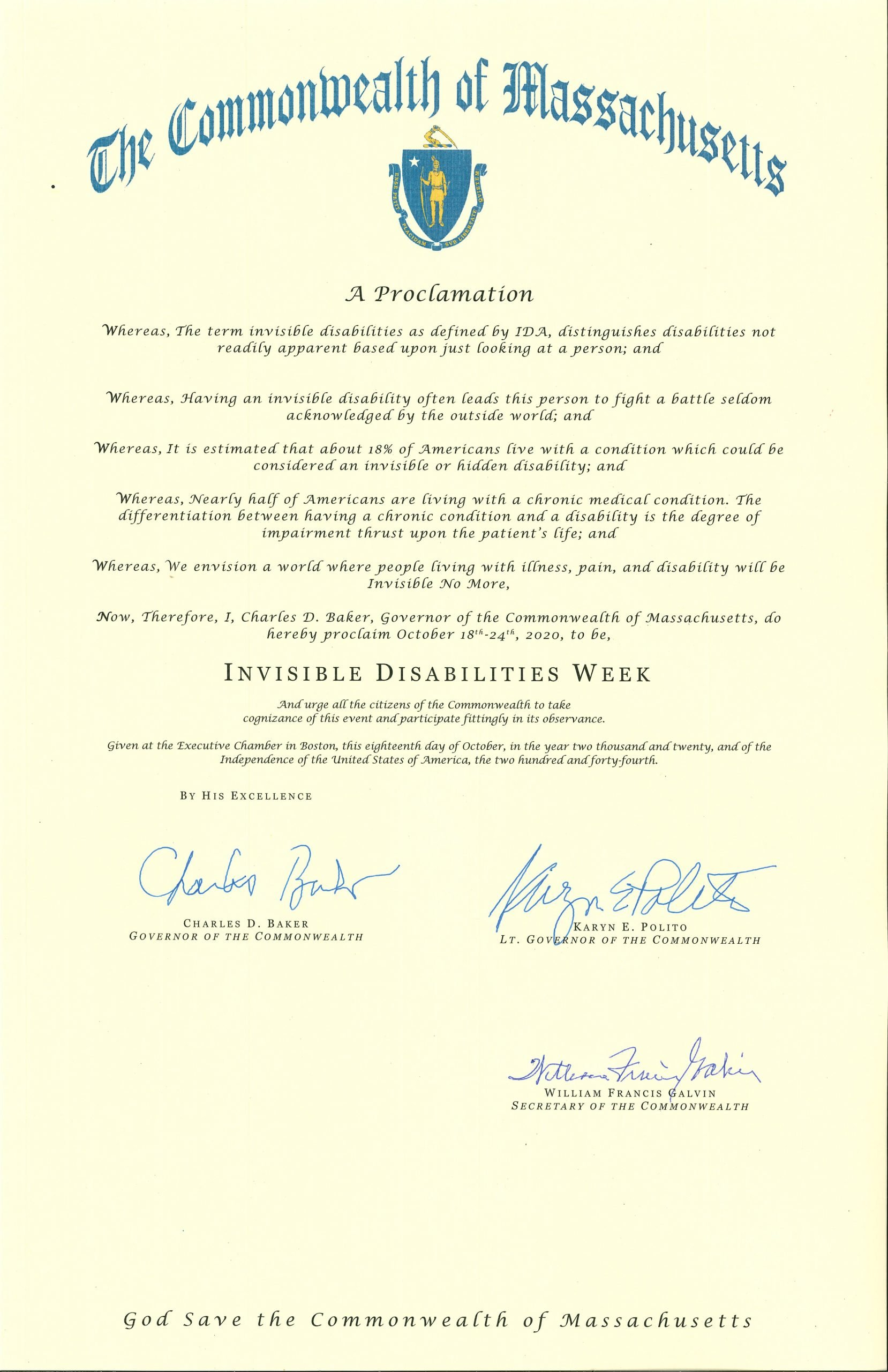 Massachusetts 2020 Invisible Disabilities Week Proclamation -Invisible Disabilities Association