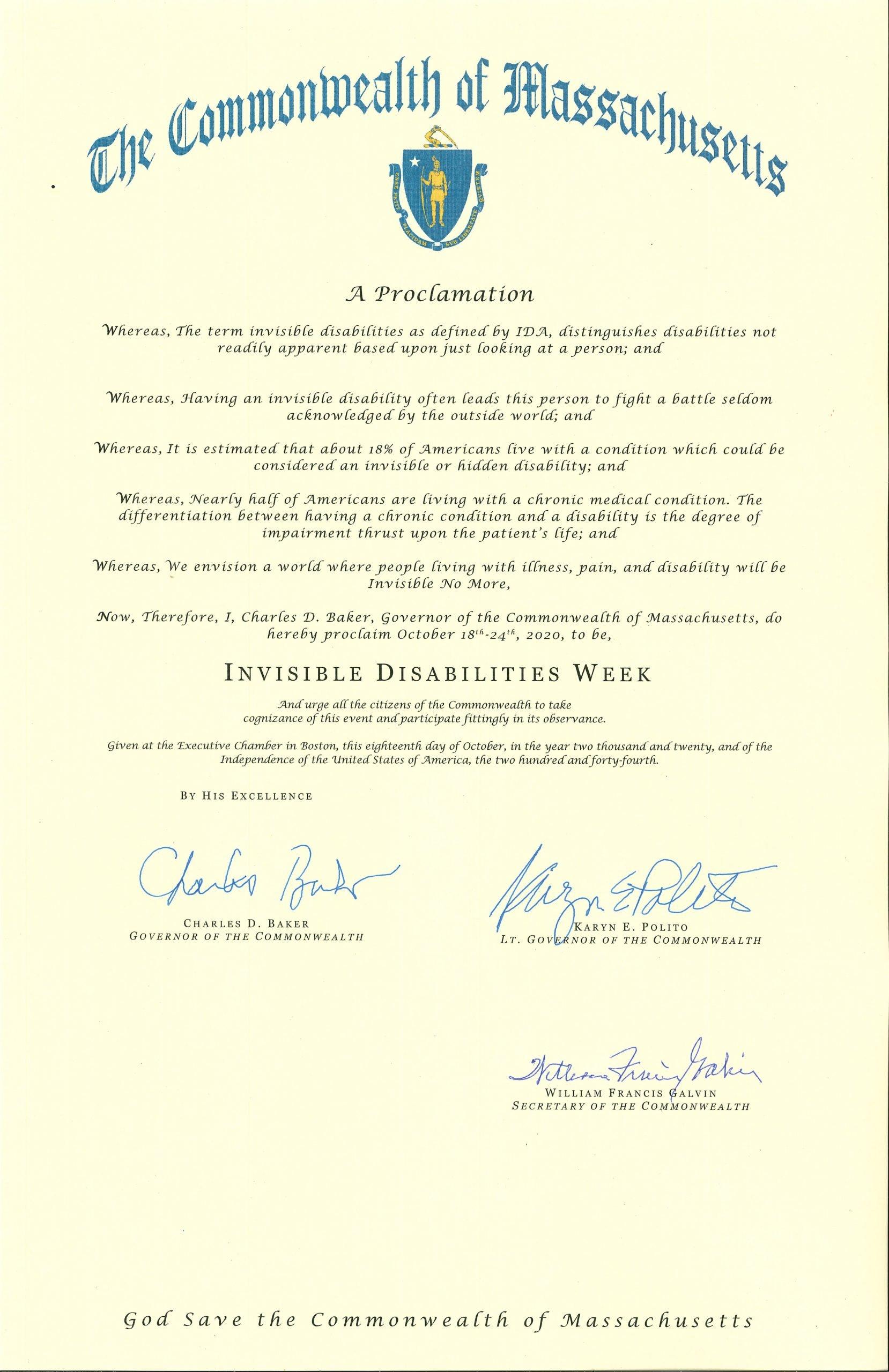 Massachusetts 2020 Invisible Disabilities Week Proclamation -Invisible Disabilities Association