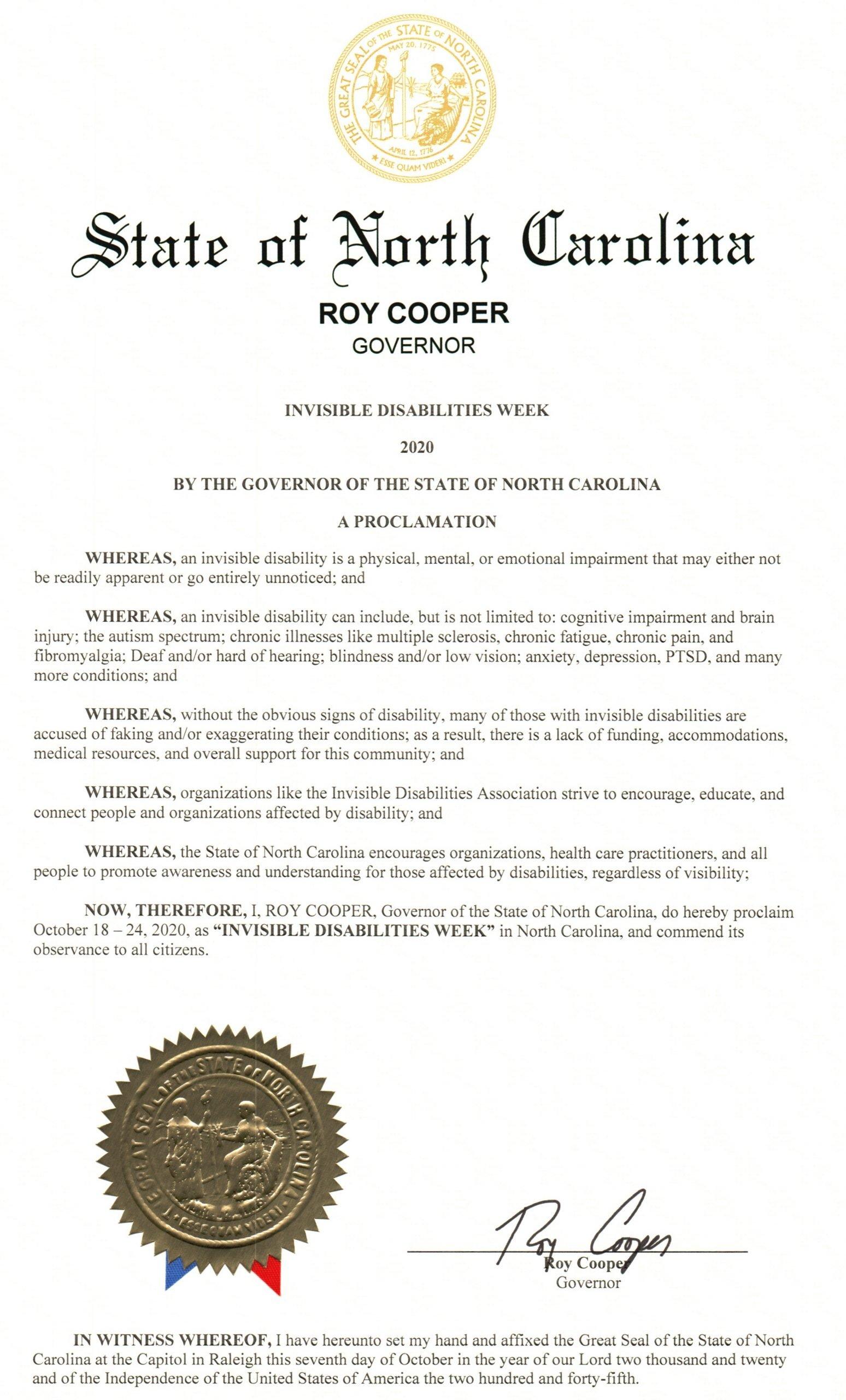 North Carolina 2020 Invisible Disabilities Week Proclamation -Invisible Disabilities Association