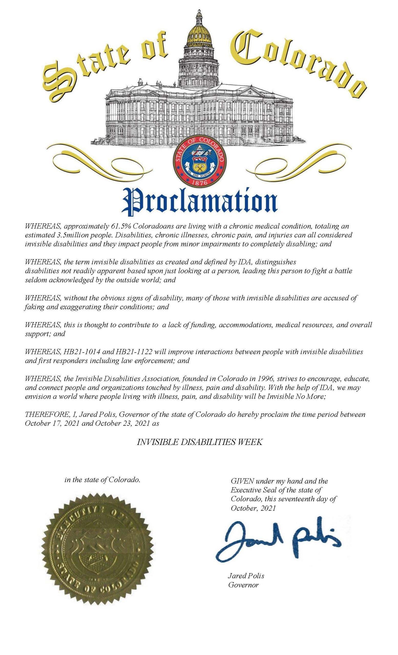 Colorado 2021 - Invisible Disabilities Week Proclamation - Invisible Disabilities Association