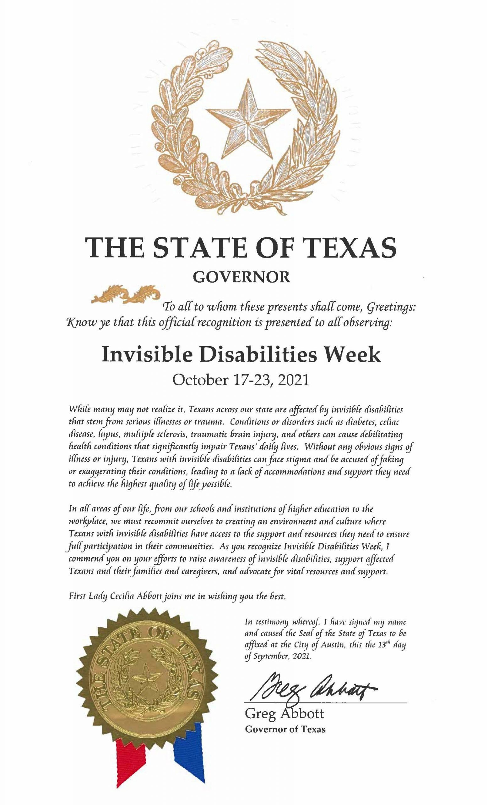 Texas 2021 Invisible Disabilities Week Proclamation - Invisible Disabilities Association