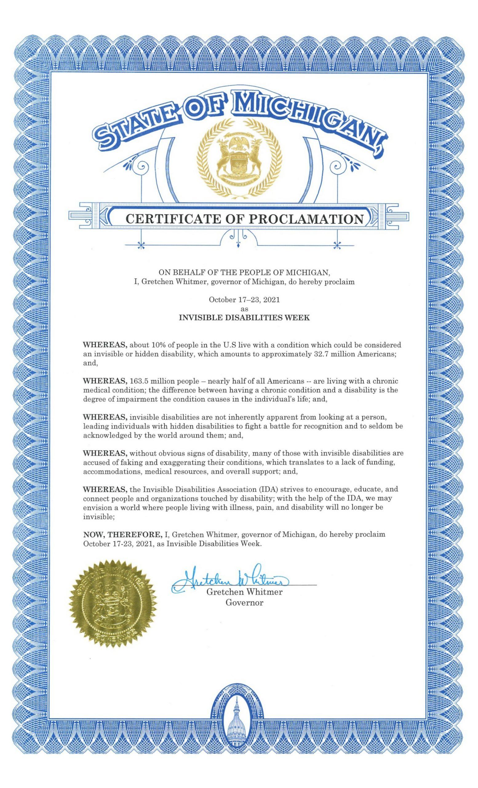 Michigan 2021 Invisible Disabilities Week Proclamation - Invisible Disabilities Association